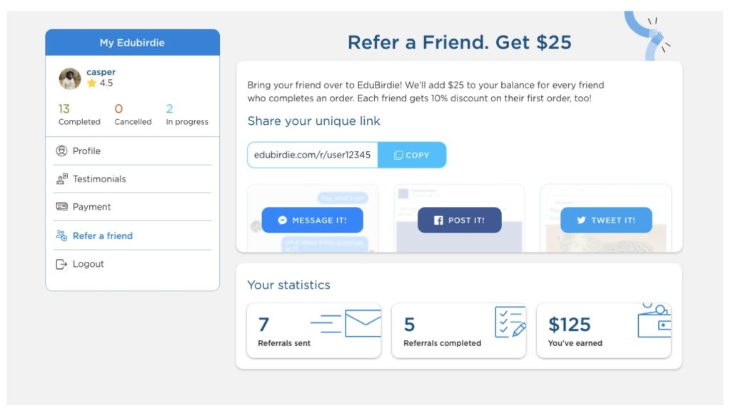 Referral Program - edubirdie