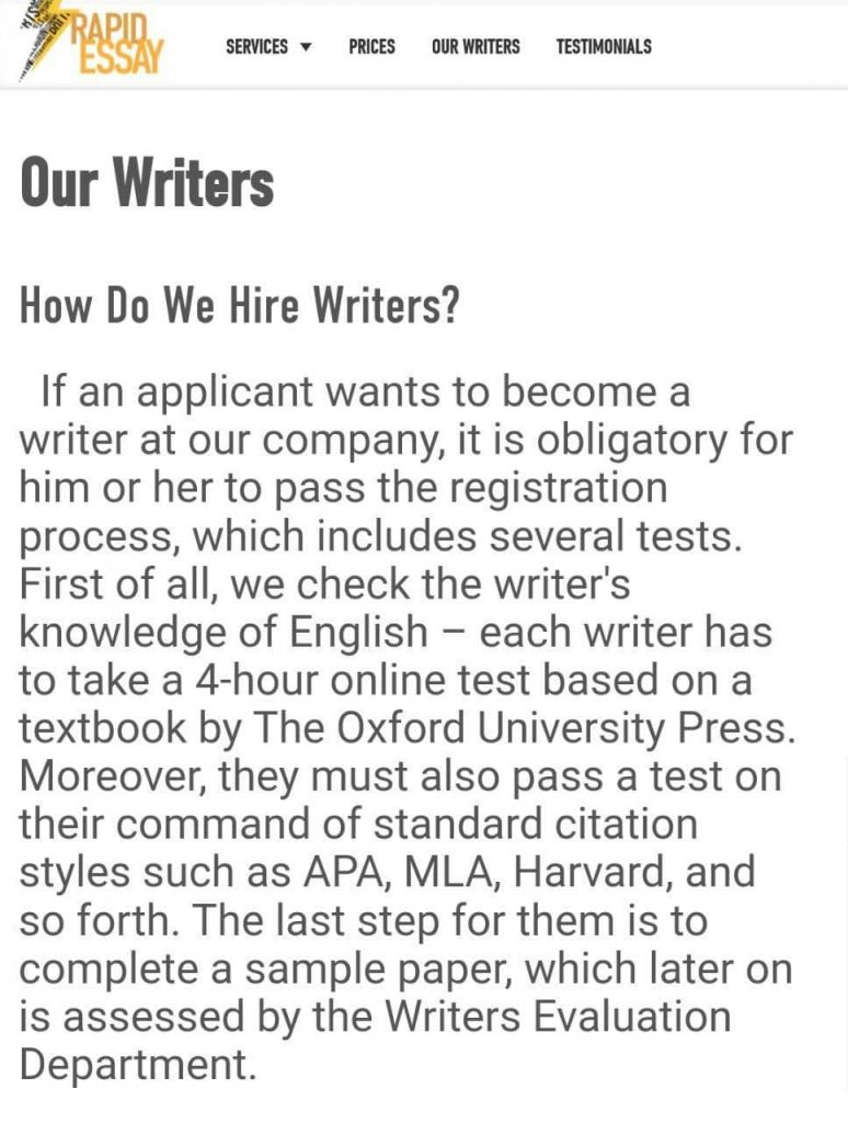 rapidessay writers